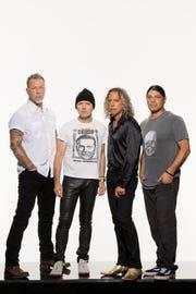 Metallica, from left to right, James Hetfield, Lars Ulrich, Kirk Hammett, and Robert Trujillo.
