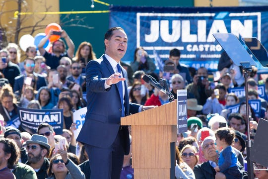 Former United States Secretary of Housing and Urban Development Juliàn Castro announces his candidacy for president of the United States in his hometown of San Antonio, Texas on Saturday.