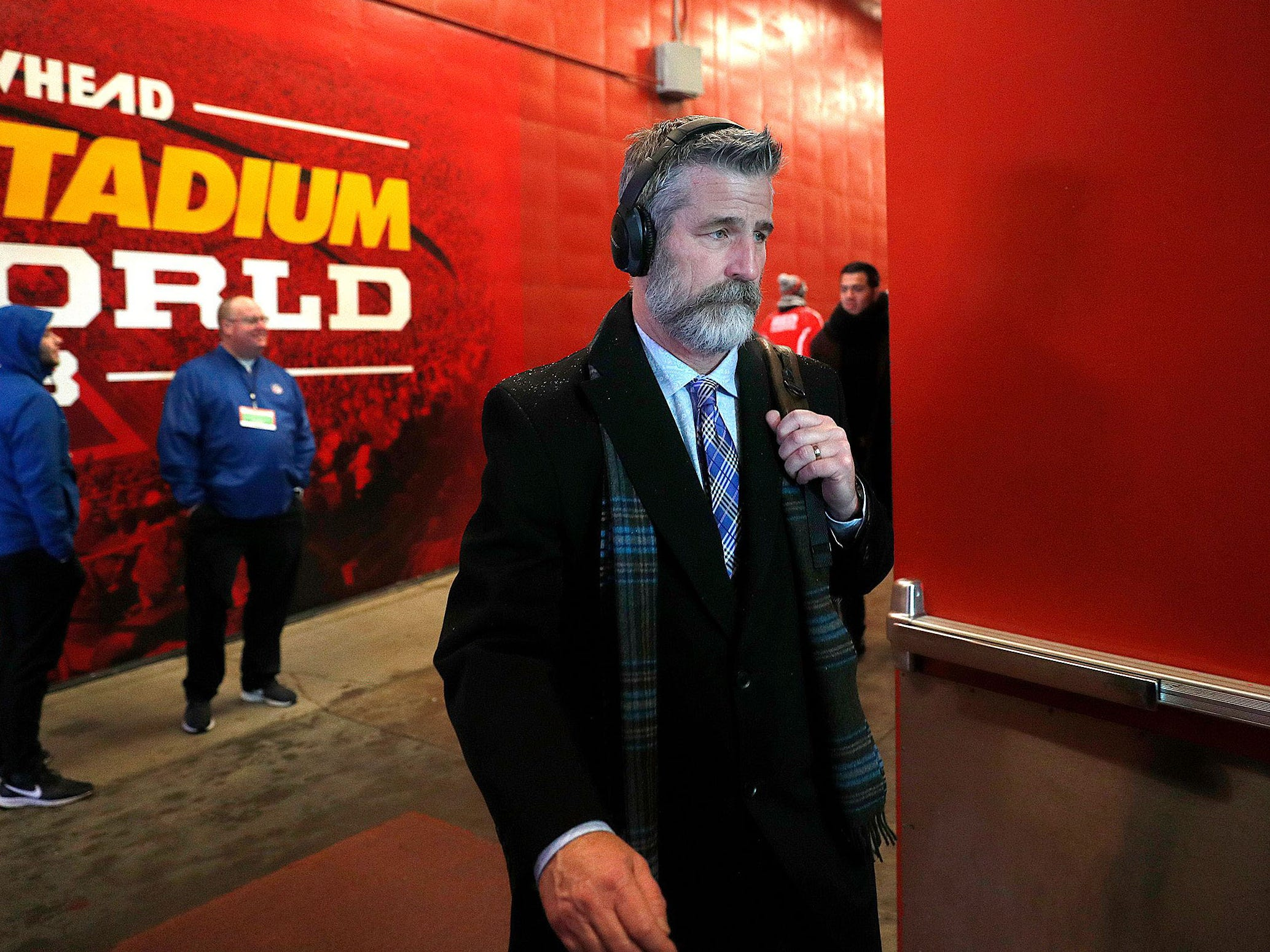 Indianapolis Colts head coach Frank Reich arrives before the AFC Divisional playoff football game against the Kansas City Chiefs at Arrowhead Stadium.