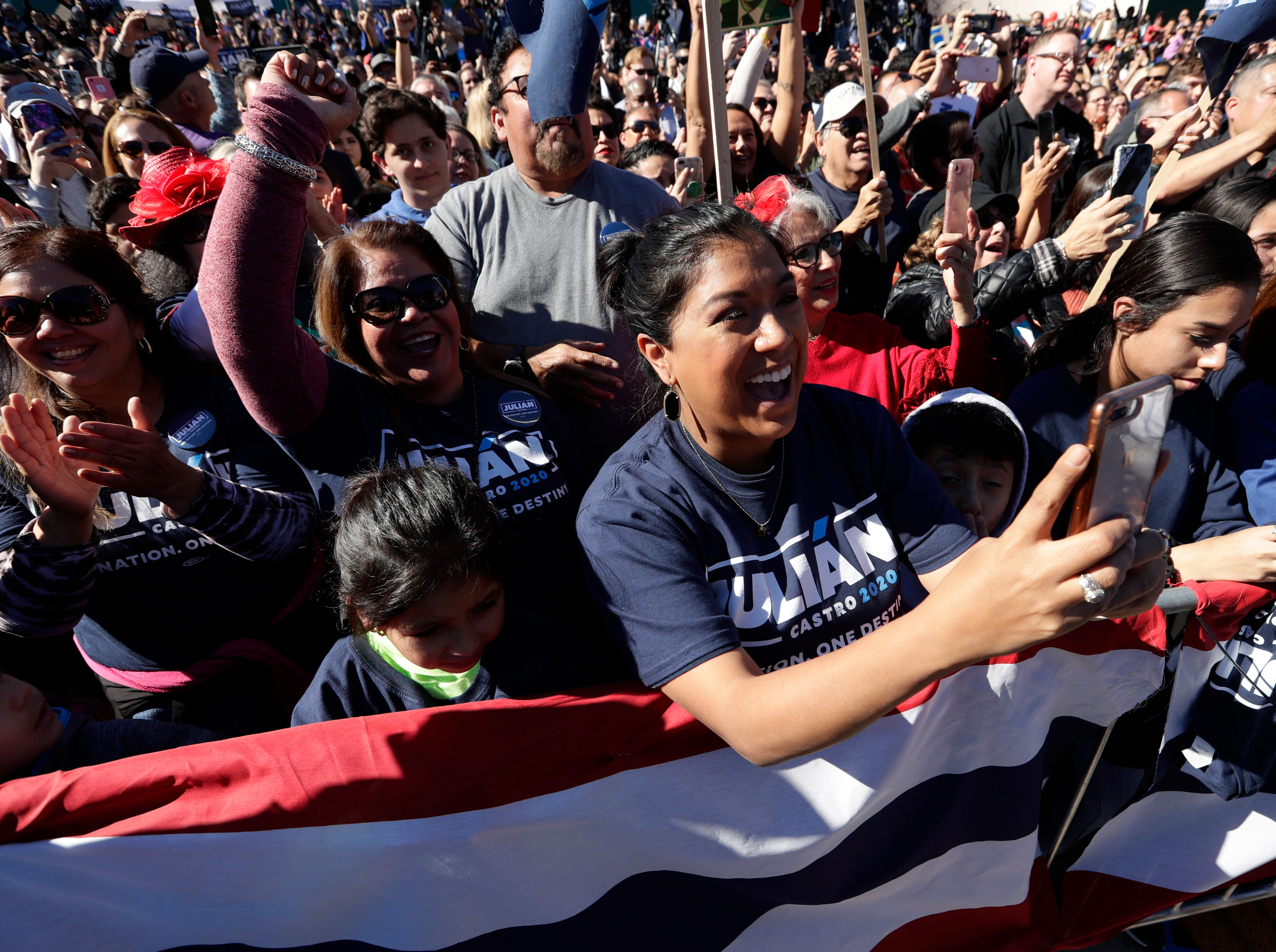 Supporters cheer for former San Antonio Mayor and Housing and Urban Development Secretary Julian Castro.