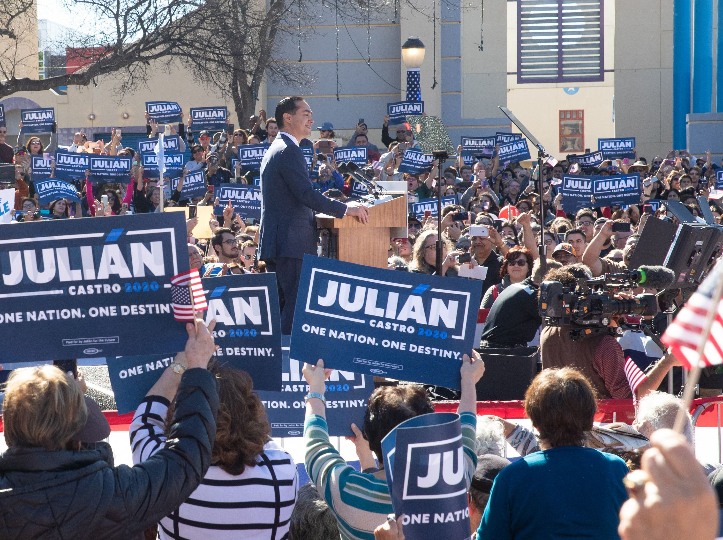 Former United States Secretary of Housing and Urban Development Julian Castro announces his candidacy for President of the United States in his hometown of San Antonio, Texas on Jan. 12, 2019.