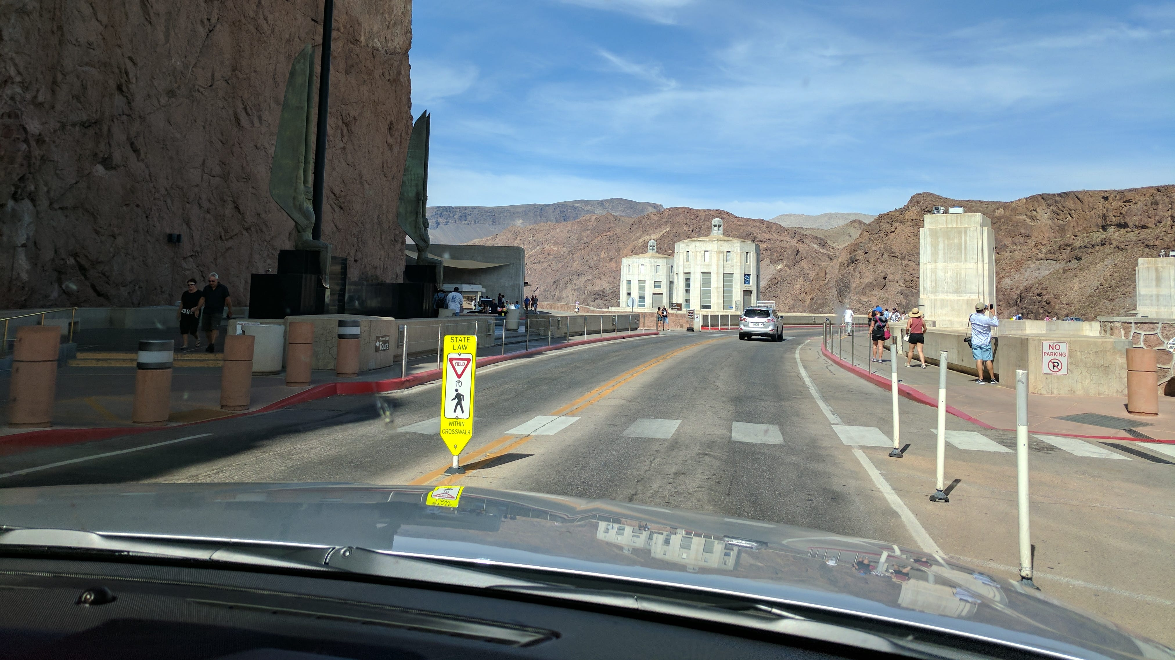 Driving over the Hoover Dam in 2017 -- a short but beautiful drive.