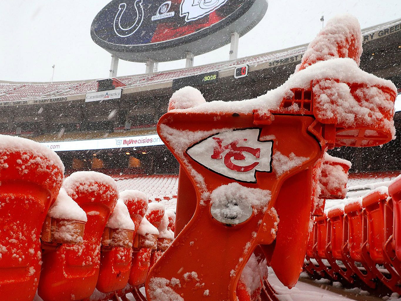 Snow on the seats at Arrowhead Stadium before the AFC Divisional playoff football game between the Indianapolis Colts and Kansas City Chiefs.