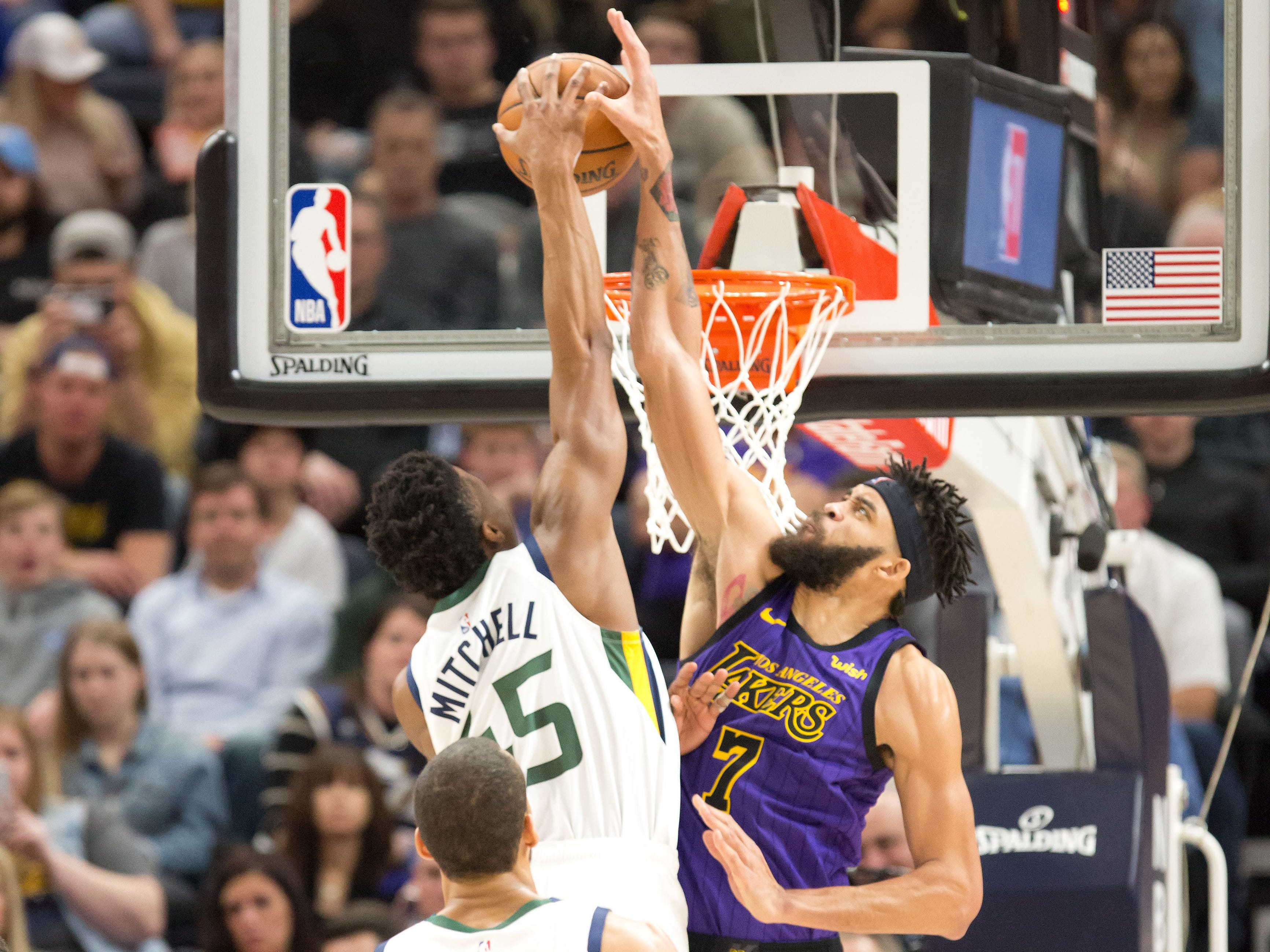 Jan. 11: Jazz guard Donovan Mitchell (45) throws down the thunderous one-handed jam over Lakers defender JaVale McGee (7).