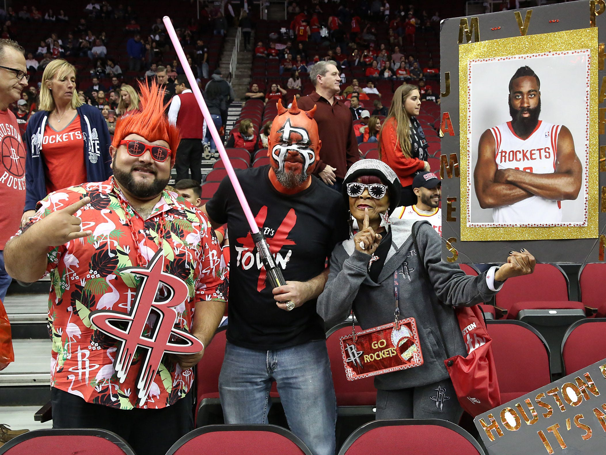 Jan. 11: Rockets fans get fired up before facing the Cavaliers in Houston.