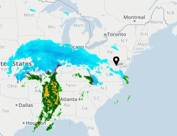 The USA TODAY Weather page shows a winter storm moving across the United States on Saturday, Jan. 12, 2019.