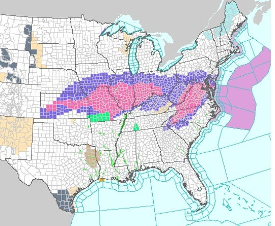 The National Weather Service map shows areas of the country under either a winter weather warning (red) or winter weather advisory (blue) for Saturday as a winter storm stretched eastward across the country