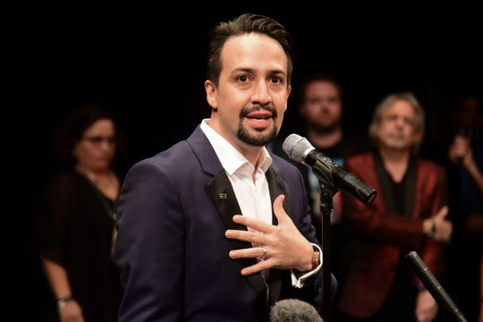 Lin-Manuel Miranda, composer and creator of the award-winning Broadway musical, Hamilton, speaks at a press conference after the premiere's ends, held at the Santurce Fine Arts Center, in San Juan, Puerto Rico on Jan. 11, 2019.