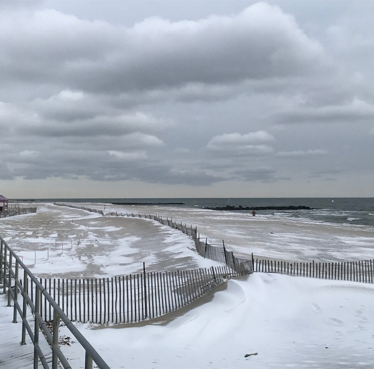 Light snow mixes with sand north of Convention Hall in Asbury Park on Sunday, Jan. 13, 2019.