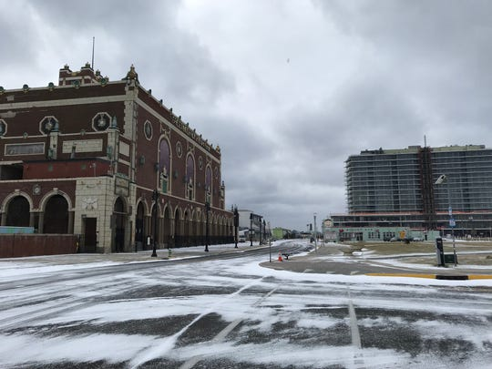 Snow lines the street at Convention Hall in Asbury Park on Sunday, Jan. 13, 2019.
