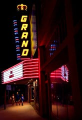 A family approaches the Grand Theatre in Stamford on Nov. 30.