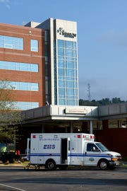 An ambulance parked outside of Mission Hospital.