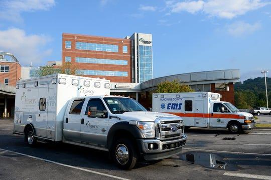 Ambulances parked outside of Mission Hospital.