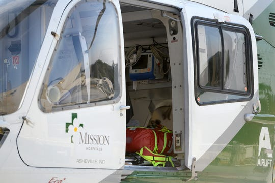 The Mountain Area Medical Airlift, or MAMA helicopter, at Mission Hospital.