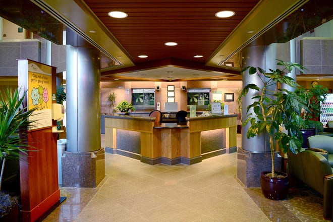 The entrance to a waiting area of the Heart Center at Mission Hospital.