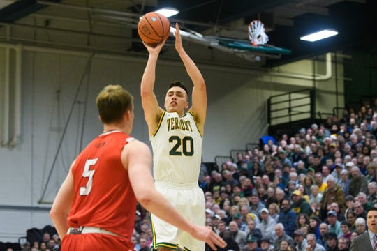 Vermont guard Ernie Duncan (20) shoots the ball during the men's basketball game between the Hartford Hawks and the Vermont Catamounts at Patrick Gym on Saturday night January 12, 2019 in Burlington.