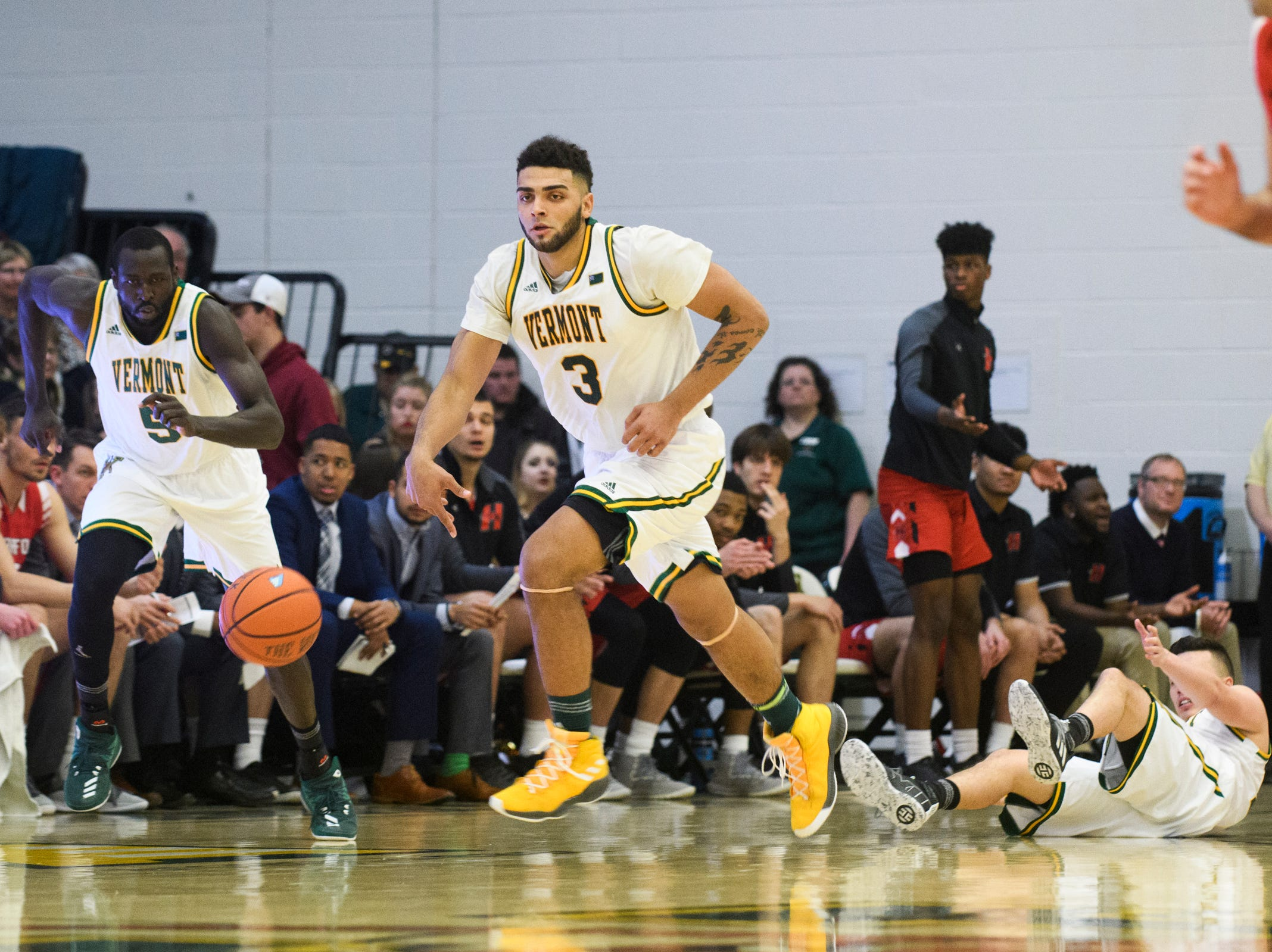 Vermont forward Anthony Lamb (3) dribbles the ball down the court during the men's basketball game between the Hartford Hawks and the Vermont Catamounts at Patrick Gym on Saturday night January 12, 2019 in Burlington.