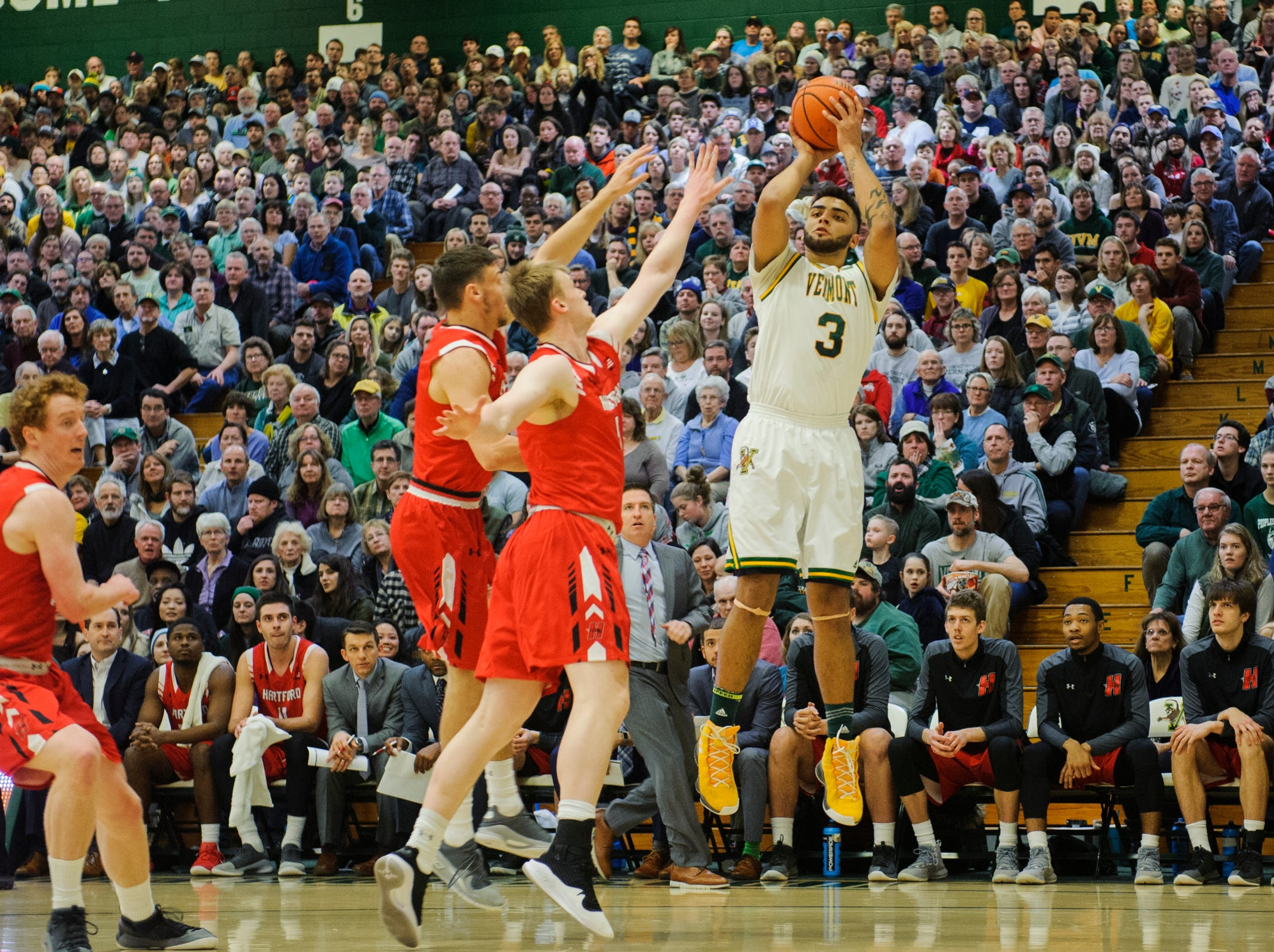 Vermont forward Anthony Lamb (3) takes a shot during the men's basketball game between the Hartford Hawks and the Vermont Catamounts at Patrick Gym on Saturday night January 12, 2019 in Burlington.