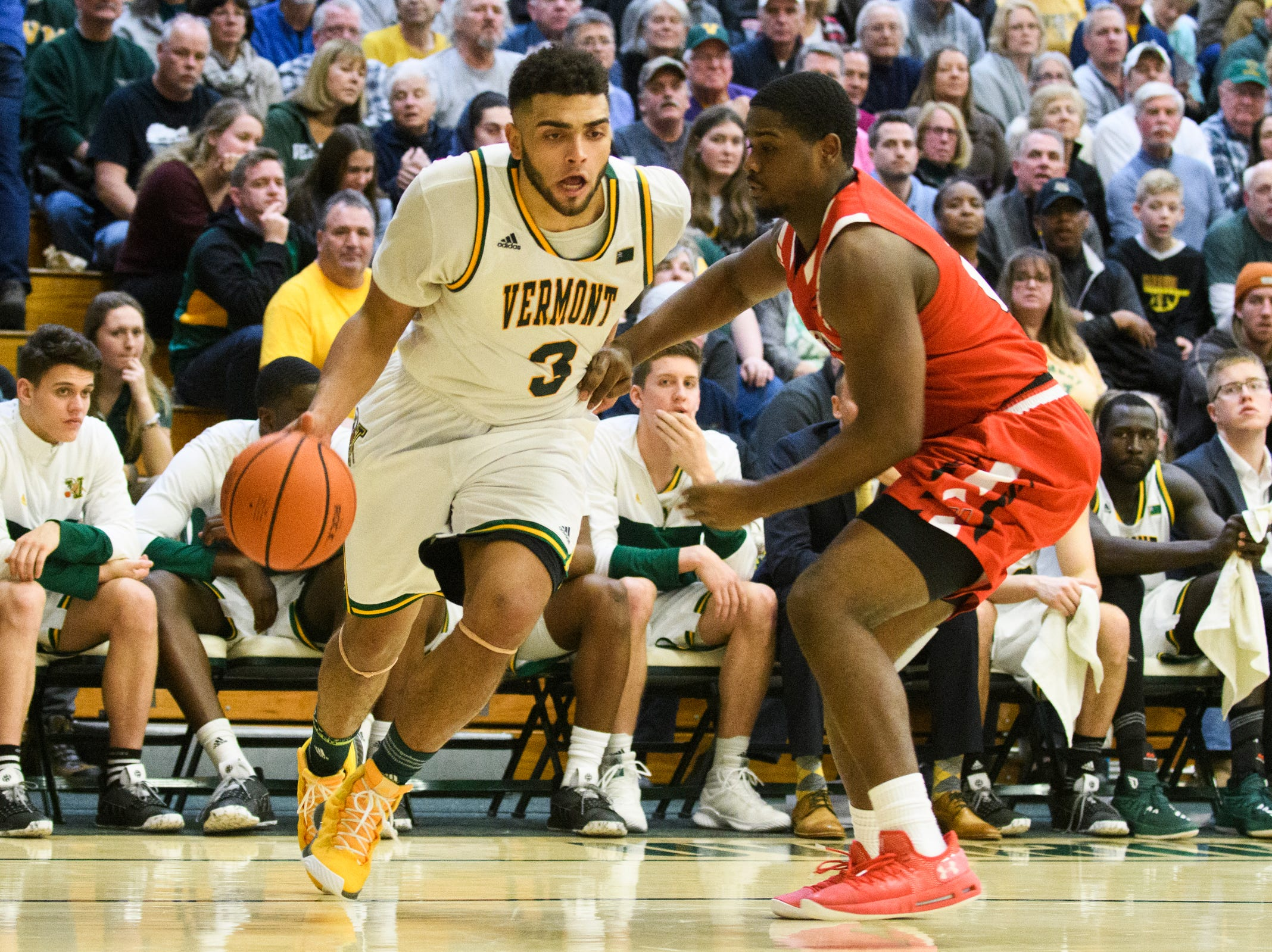 Vermont forward Anthony Lamb (3) drives to the hoop  during the men's basketball game between the Hartford Hawks and the Vermont Catamounts at Patrick Gym on Saturday night January 12, 2019 in Burlington.