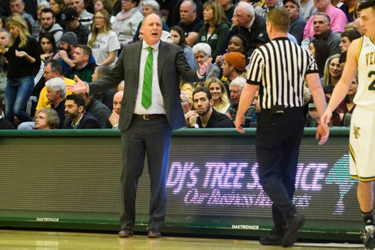 Vermont head coach John Becker has words with the referee during the men's basketball game between the Hartford Hawks and the Vermont Catamounts at Patrick Gym on Saturday night January 12, 2019 in Burlington.