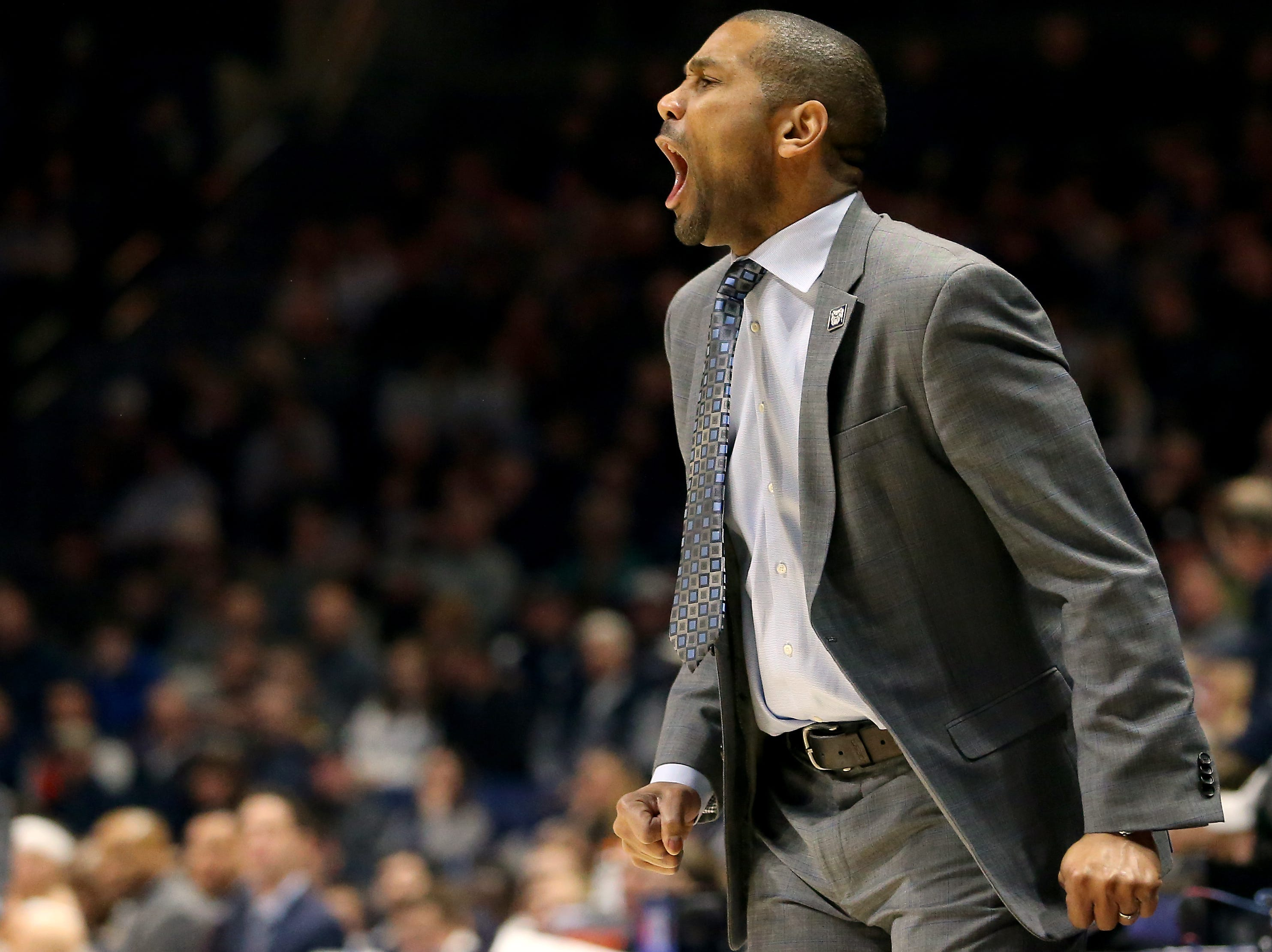 Butler Bulldogs head coach LaVall Jordan instructs the team in the first half of an NCAA college basketball game against the Xavier Musketeers, Sunday, Jan. 13, 2019, at Cintas Center in Cincinnati.