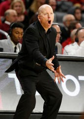 Cincinnati Bearcats head coach Mick Cronin shouts during the second half of a basketball game against Connecticut Saturday, Jan. 12, 2019 in Cincinnati. Cincinnati won 74-72 in overtime. (Photo by Gary Landers for the Enquirer)