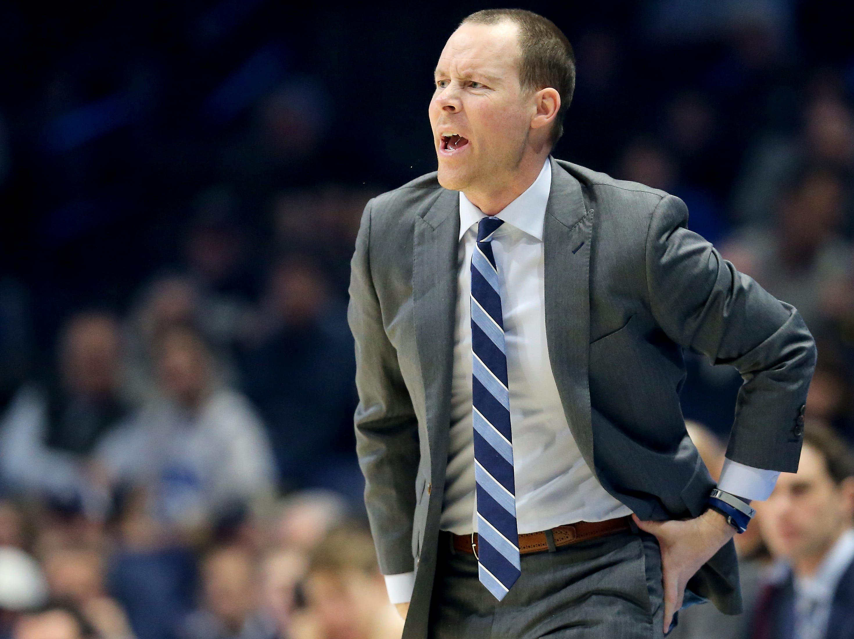 Xavier Musketeers head coach Travis Steele instructs the team in the first half of an NCAA college basketball game against the Butler Bulldogs, Sunday, Jan. 13, 2019, at Cintas Center in Cincinnati.