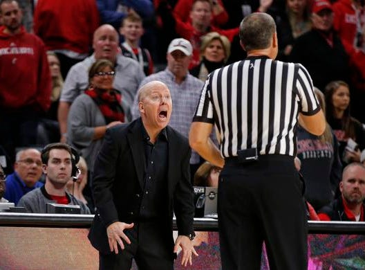 Cincinnati Bearcats head coach Mick Cronin has a few words for a referee during the second half of a basketball game against Connecticut Saturday, Jan. 12, 2019 in Cincinnati. Cincinnati won 74-72 in overtime. (Photo by Gary Landers for the Enquirer)