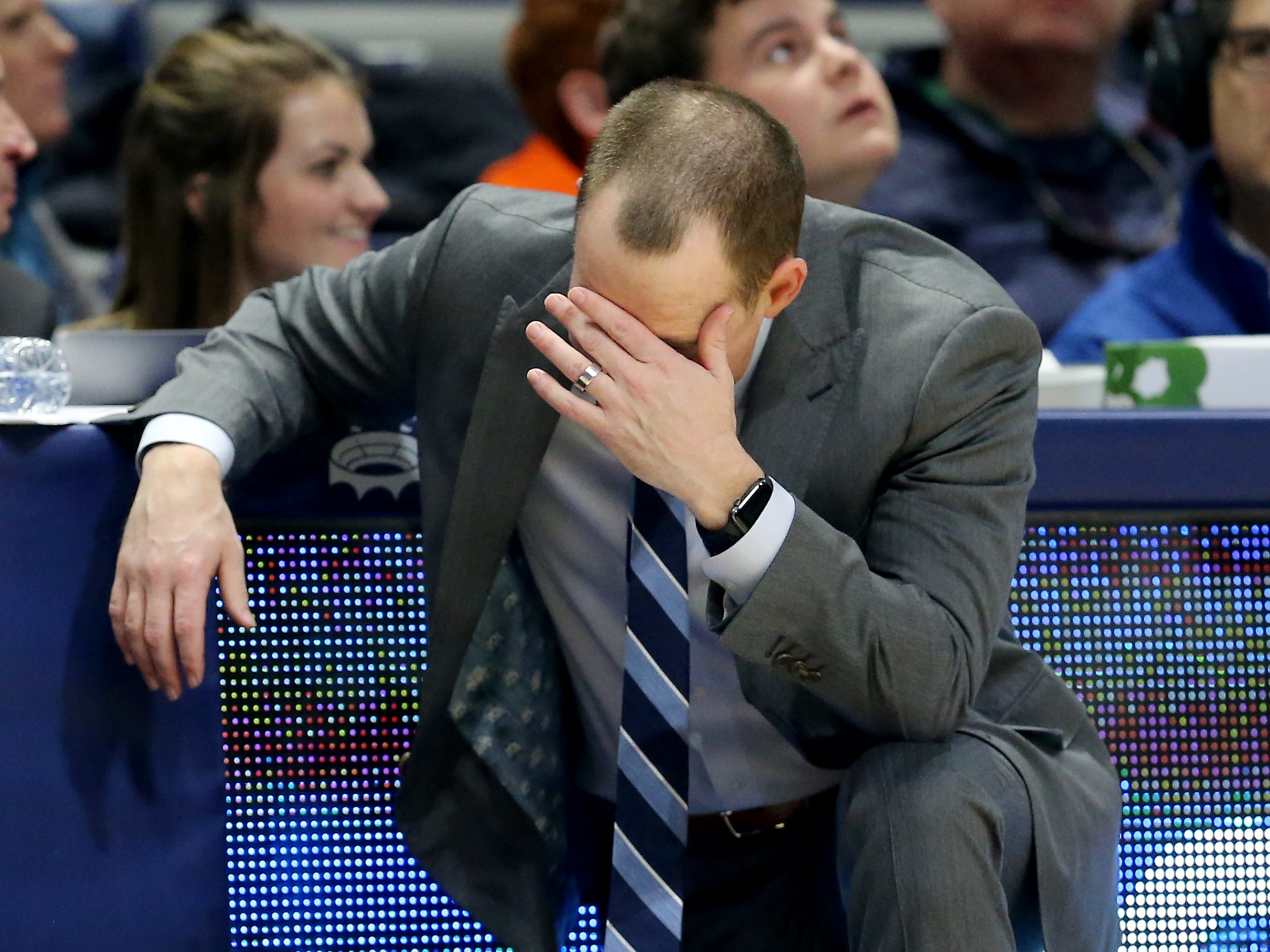 Xavier Musketeers head coach Travis Steele reacts in frustration to a foul in the second half of an NCAA college basketball game against the Butler Bulldogs, Sunday, Jan. 13, 2019, at Cintas Center in Cincinnati. Xavier Musketeers won 70-69.