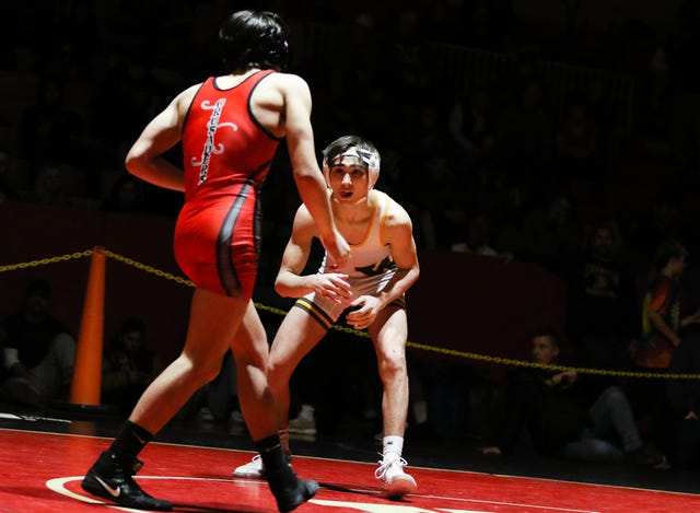 Watchung's Blake Bahna and Alex Martinez wrestle in the 132 lb match during the Somerset County Wrestling Tournament at Hillsborough High School on January 12, 2019. Alexandra Pais/ for the Courier News