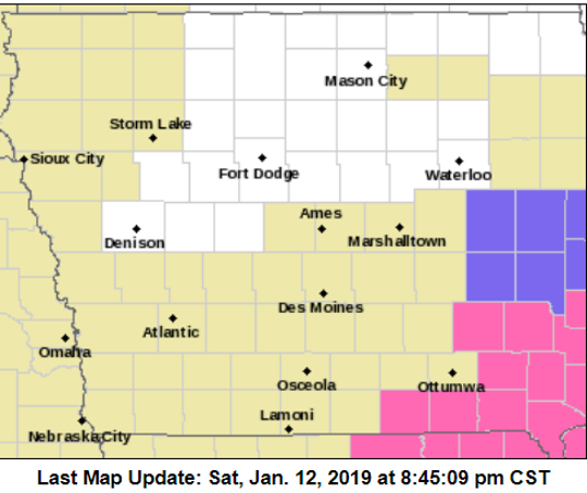 This map shows evening weather warnings in Iowa on Saturday, Jan. 12, 2018. The yellow-shaded area, a Hazardous Weather Outlook, means light snow may linger in the area. The purple-shaded area, a Winter Weather Advisory, and the pink-shaded area, a Winter Storm Warning, indicate more consistent, heavy snowfall.