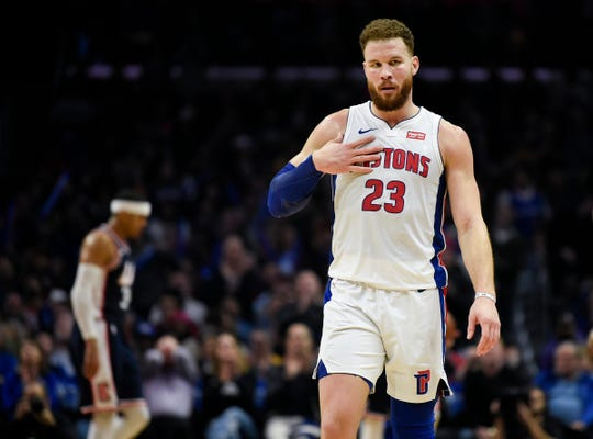 Detroit Pistons' Blake Griffin reacts during the fourth quarter of the 109-104 win against the Los Angeles Clippers at Staples Center, Saturday, Jan. 12, 2019, in Los Angeles.