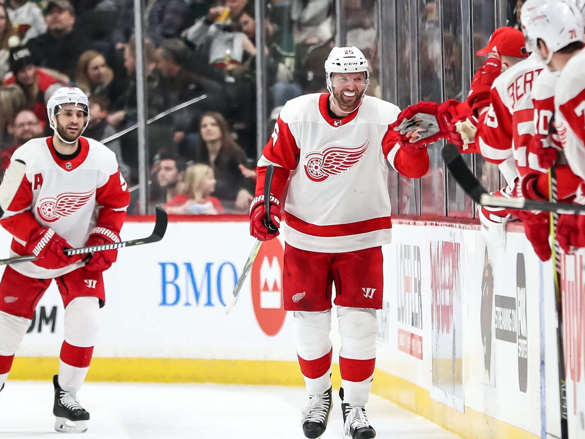 Detroit Red Wings forward Thomas Vanek celebrates his goal with teammates during the second period against the Minnesota Wild, Jan. 12, 2019 in Saint Paul, Minn.