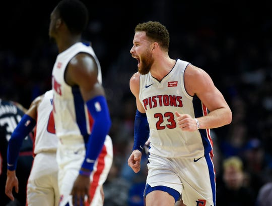Detroit Pistons forward Blake Griffin reacts in the fourth quarter against the Los Angeles Clippers, Saturday, Jan. 12, 2019, in Los Angeles.