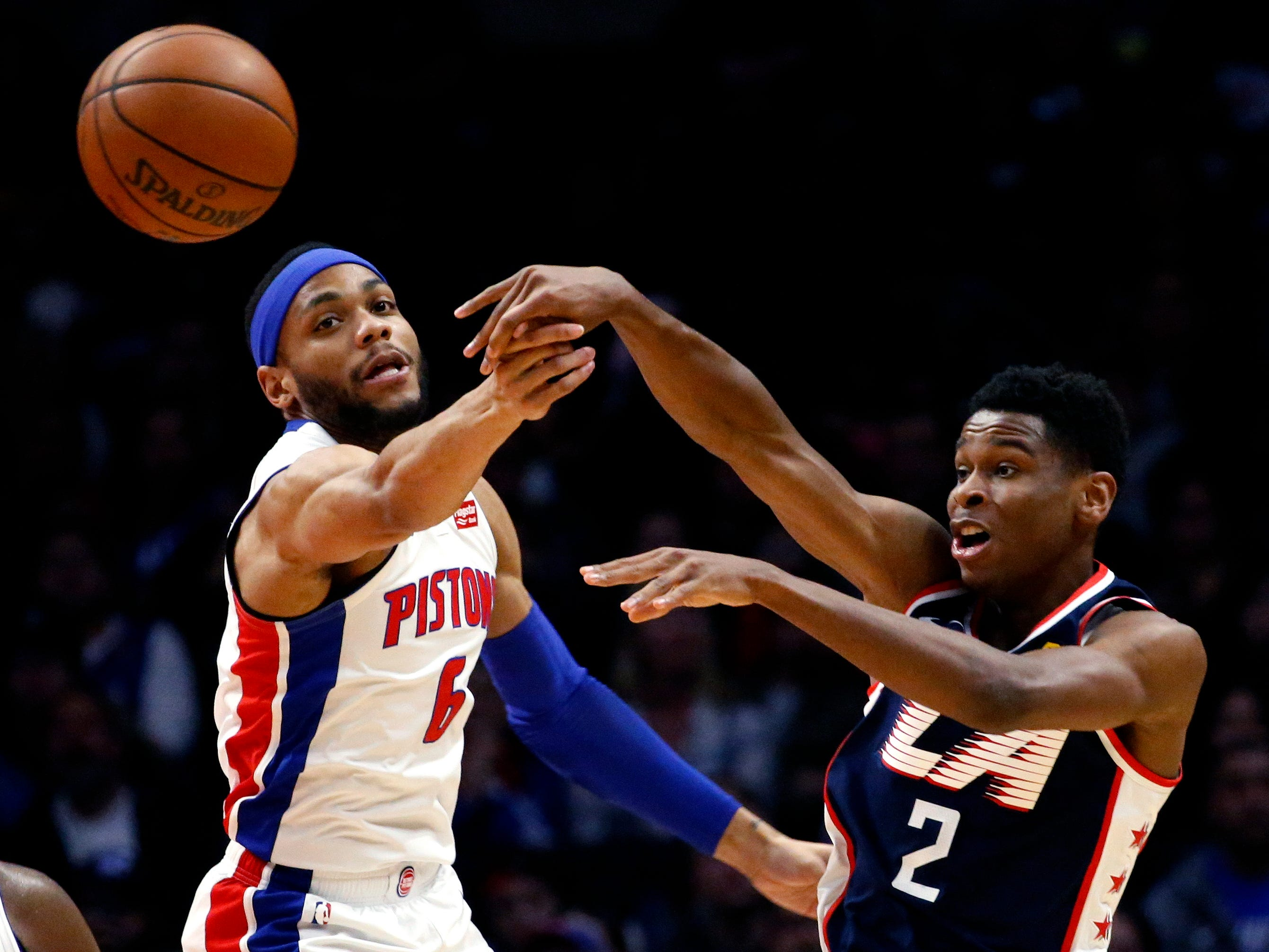 Los Angeles Clippers' Shai Gilgeous-Alexander passes against Detroit Pistons' Bruce Brown during the second half Saturday, Jan. 12, 2019, in Los Angeles.