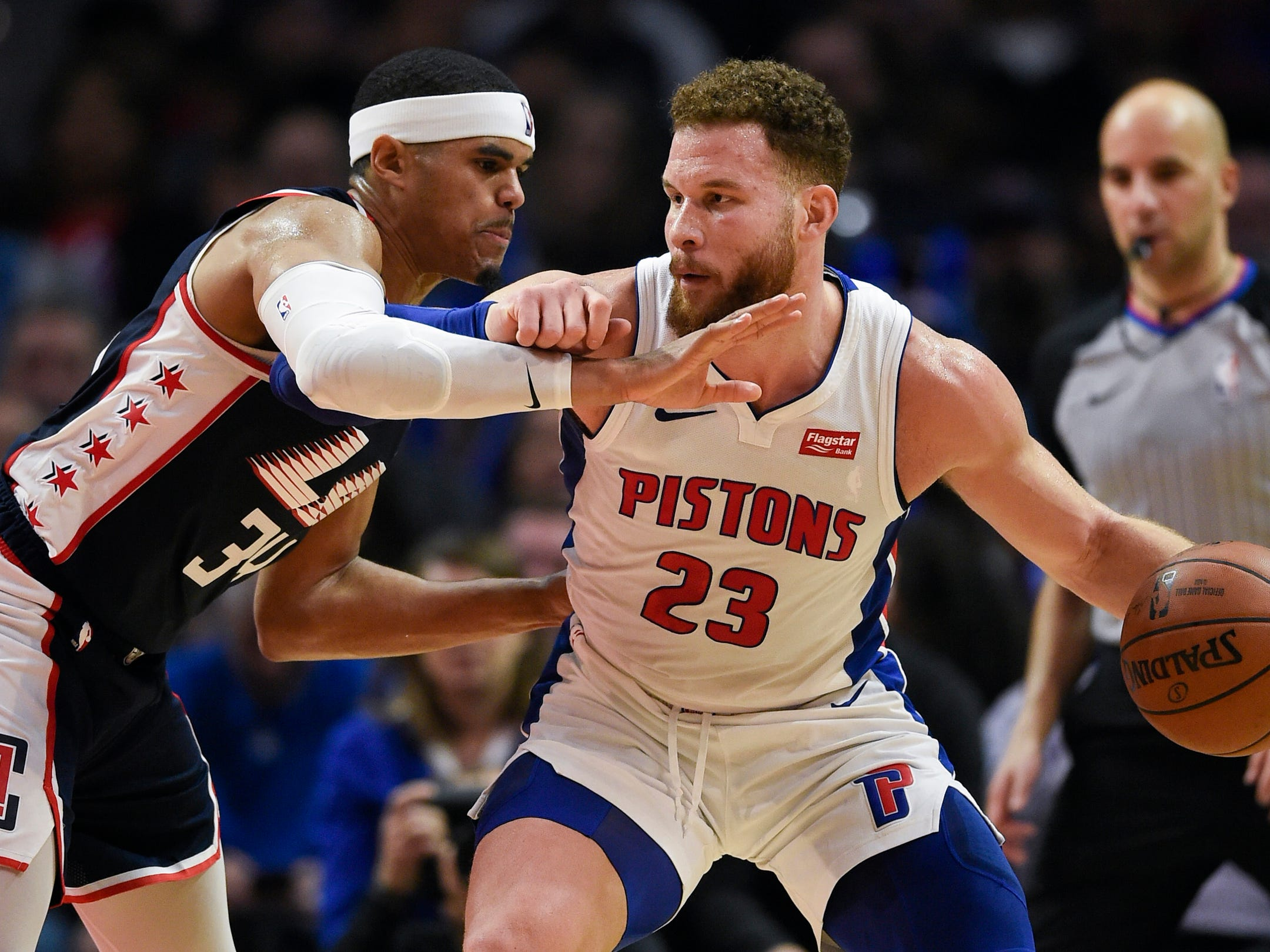 Detroit Pistons forward Blake Griffin posts up on Los Angeles Clippers forward Tobias Harris during the third quarter at Staples Center, Saturday, Jan. 12, 2019, in Los Angeles.