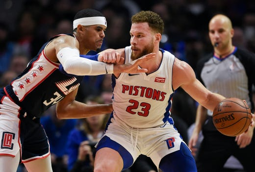 ba2eb459f6c Detroit Pistons forward Blake Griffin posts up on Los Angeles Clippers  forward Tobias Harris during the