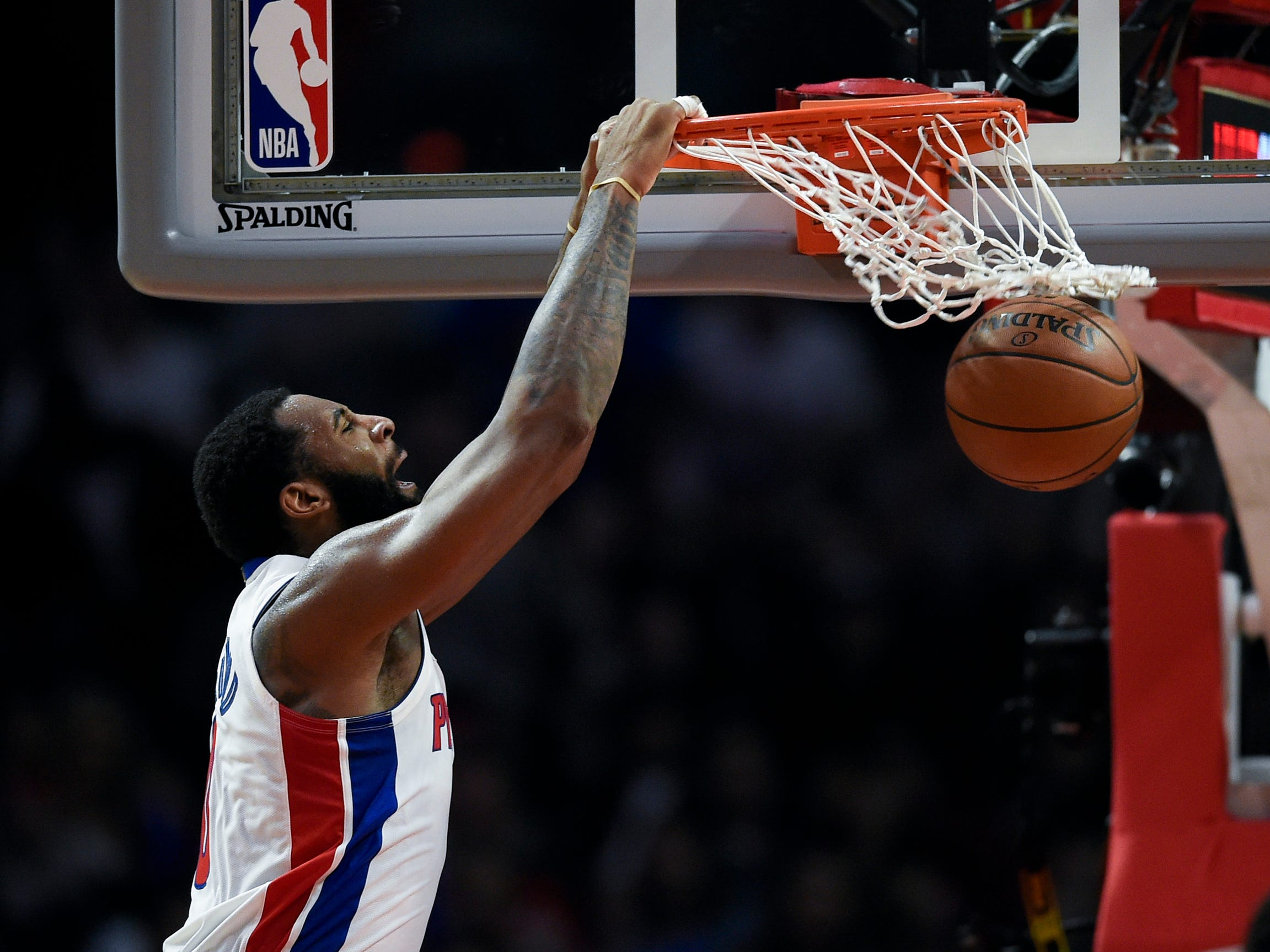 Detroit Pistons center Andre Drummond dunks during the fourth quarter against the Los Angeles Clippers at Staples Center, Saturday, Jan. 12, 2019, in Los Angeles.