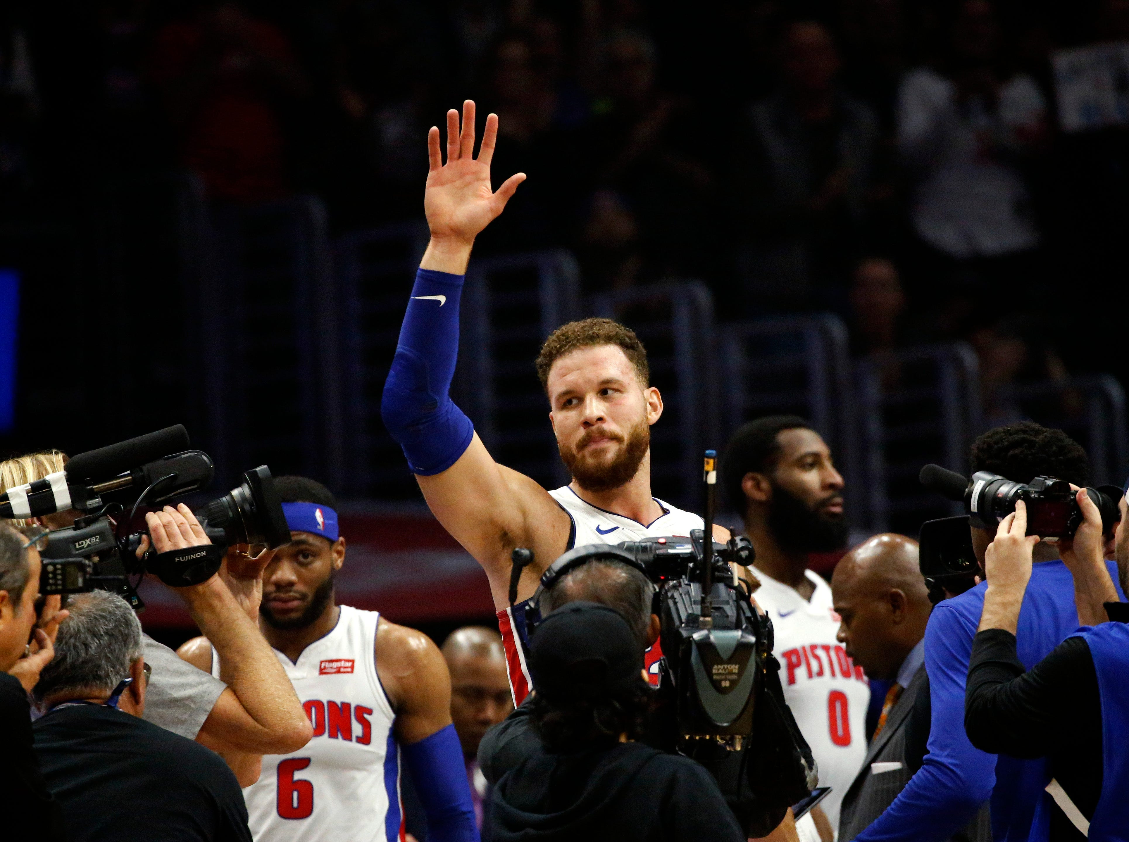 Detroit Pistons' Blake Griffin waves to fans of his former team during the first half of a game against the Los Angeles Clippers Saturday.