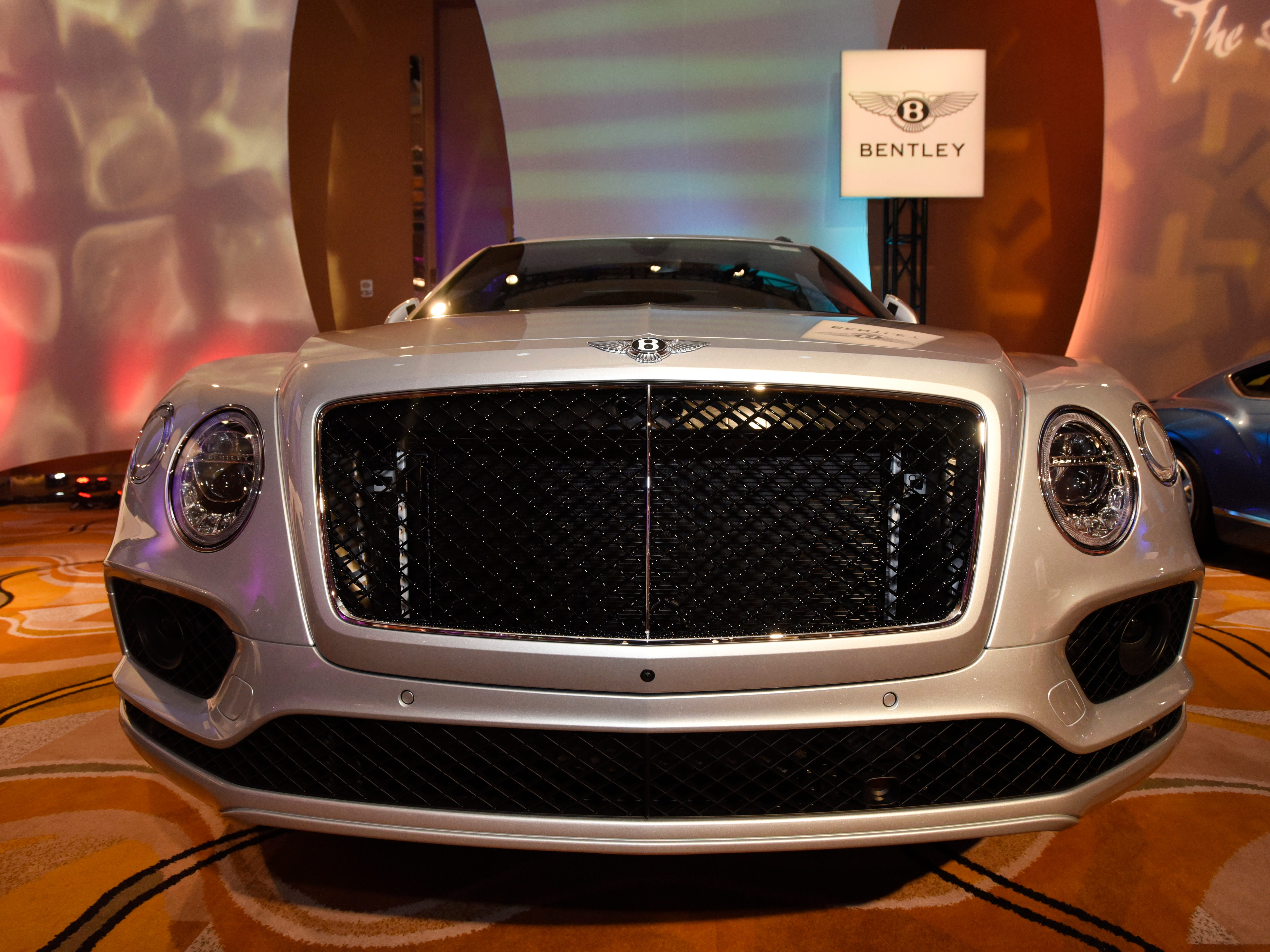 The big grille of a Bentley seems to greet visitors to The Gallery.