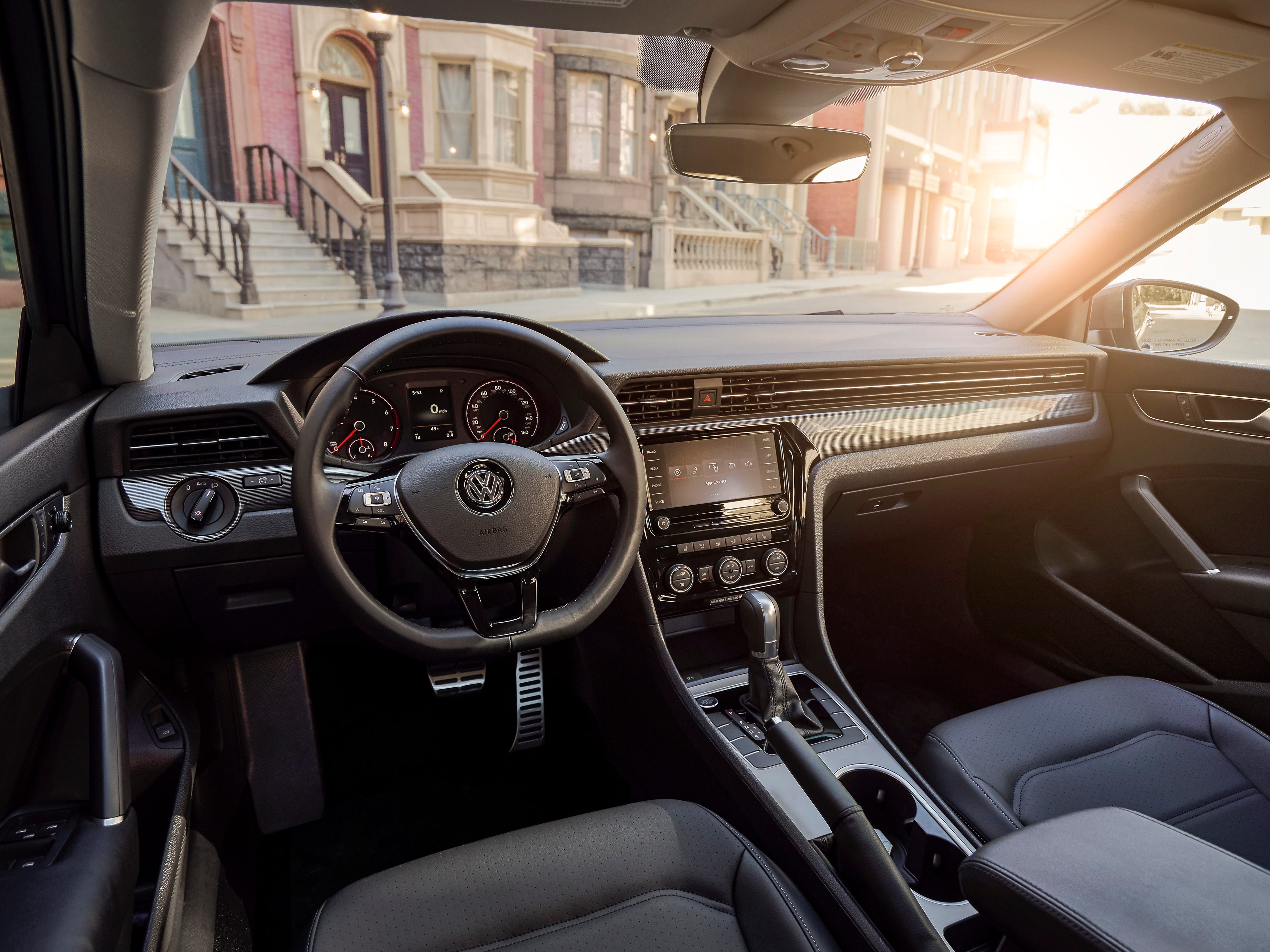 Inside, the Passat combines a sophisticated new design and upgraded technology with a spacious cabin.   The cockpit features a horizontal design, incorporating air vents that flow across the dash in a style reminiscent of premium models.