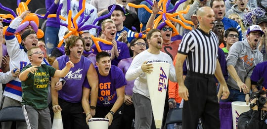 Aces student section goes crazy in overtime as the University of Evansville Purple Aces play the Indiana State Sycamores at the Evansville Ford Center Saturday, January 12, 2019.
