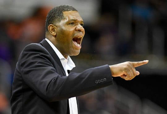 Evansville basketball head coach Walter McCarty yells instructions to his team in a Jan. 12 game against Indiana State.