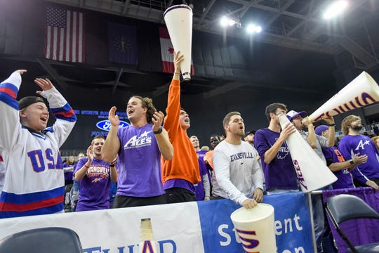 Aces student section as the University of Evansville Purple Aces play the Indiana State Sycamores at the Evansville Ford Center Saturday, January 12, 2019.