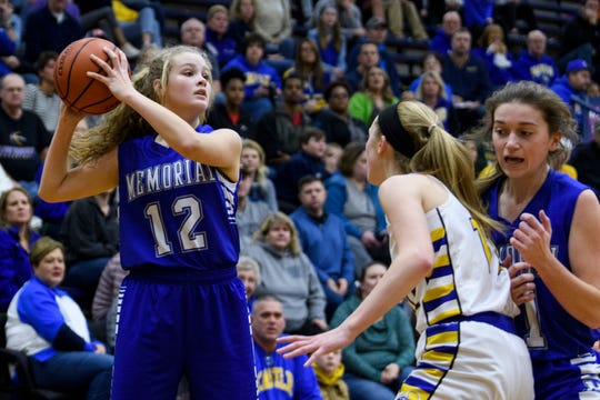 Memorial's Peyton Murphy (12) looks to make a pass during the SIAC championship at Reitz High School in Evansville, Ind., Saturday, Jan. 12, 2019. The Knights defeated the Tigers 49-31 to win the SIAC tournament for the second straight season.