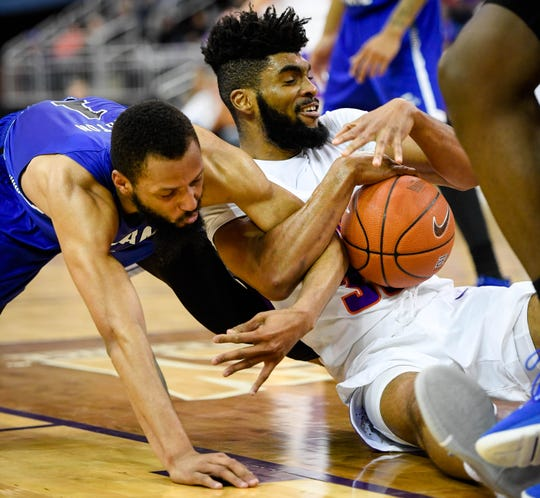Evansville junior guard K.J. Riley earns high marks for his defensive performance this season.
