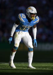 Los Angeles Chargers safety Derwin James accumulated 105 tackles, 3.5 sacks and 3 interceptions this season while earning First-team All-Pro honors.