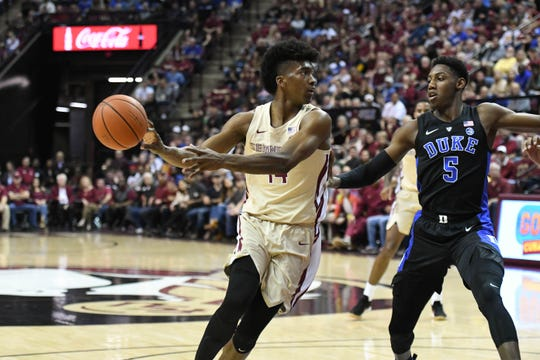 Florida State senior forward Terance Mann (14) scored 9 points and grabbed five rebounds during the Seminoles loss to Duke.