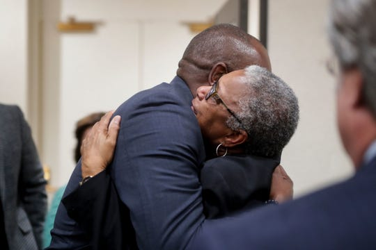 Carol (Greenlee) Crawley, daughter of Charles Greenlee, one of the four men in the Groveland Four, hugs Rep. Bobby Dubose, after her father was pardoned. Carol (Greenlee) Crawley, daughter of Charles Greenlee, one of the four men in the Groveland Four, hugs Rep. Bobby Dubose, after her father was pardoned by Gov. Ron DeSantis and his cabinet during a clemency board hearing Friday, Jan. 11, 2019.