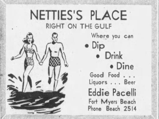 1950 News-Press ad for Ed Pacelli's restaurant at Fort Myers Beach.